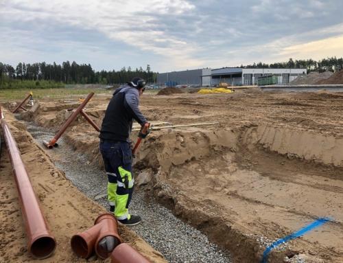 Dagvatten och dränering till en ny lastbilsverkstad